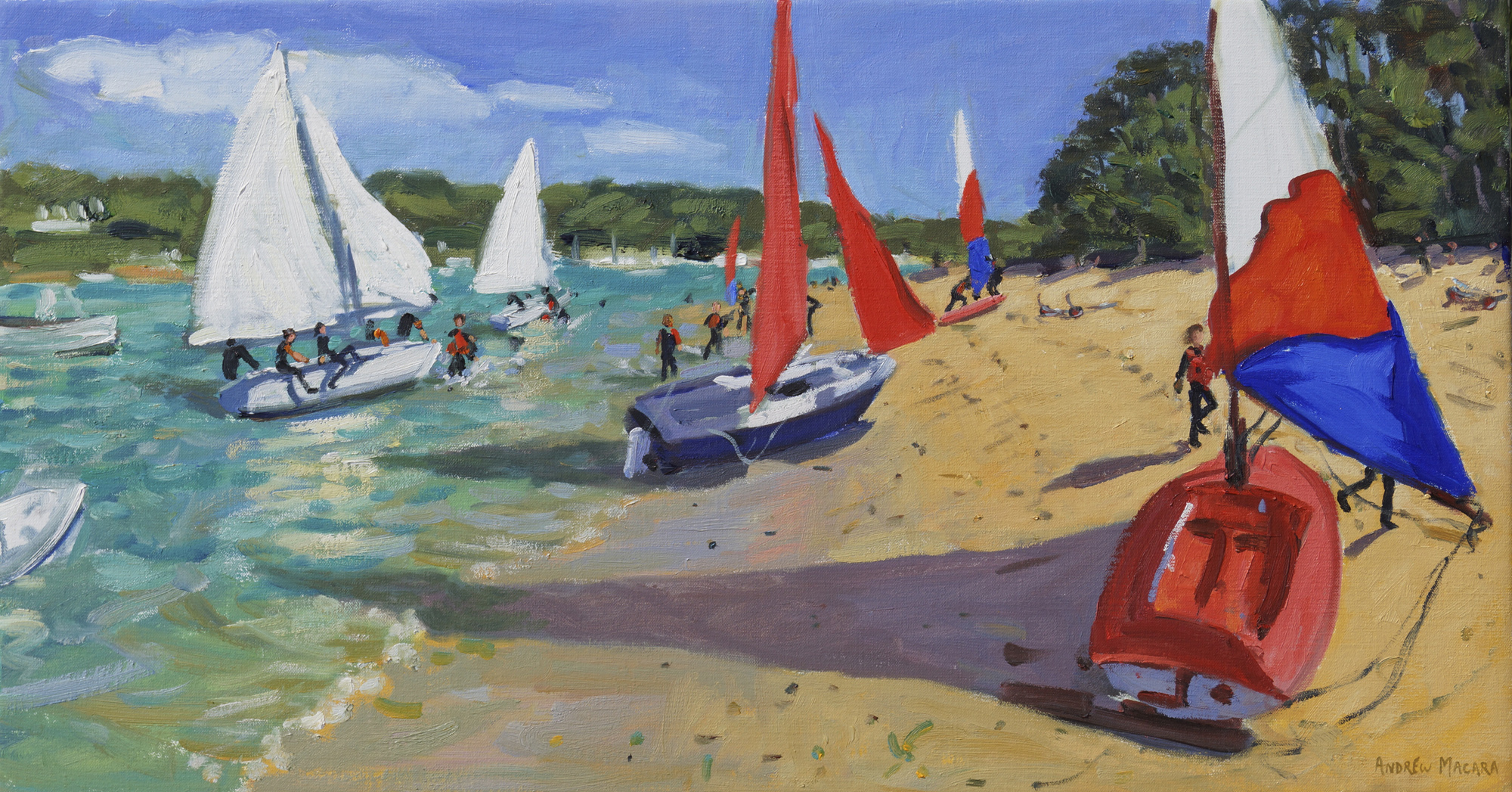 "Andrew Macara, Sailing practise , Salcombe, 2013, Oil on Canvas, 16 x 30"", £2,750"
