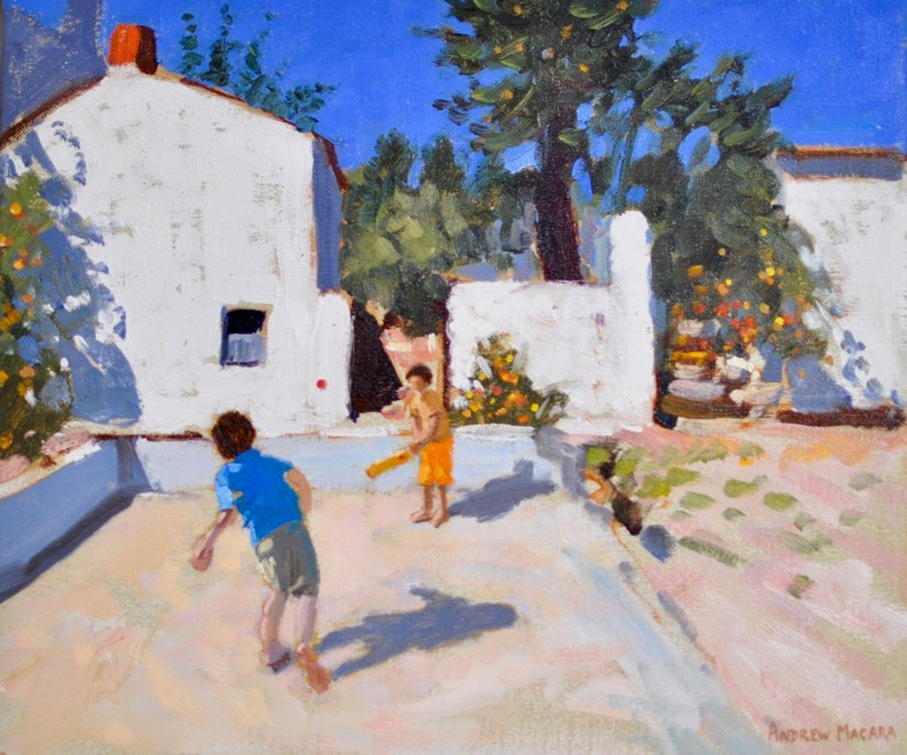 "Cricket Practise, Greece, Oil on canvas, 12 x 14"", £1,500"