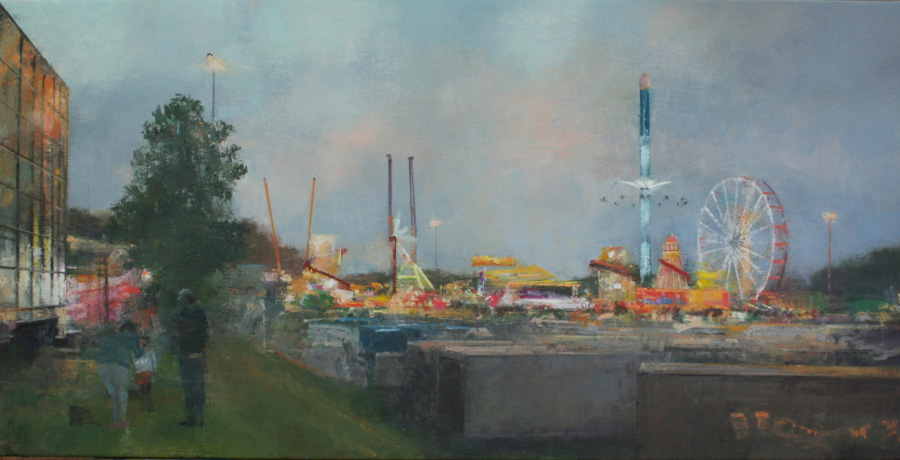 "Goose Fair I, Oil on Canvas, 28 x 14"", £1,650 - Sold"