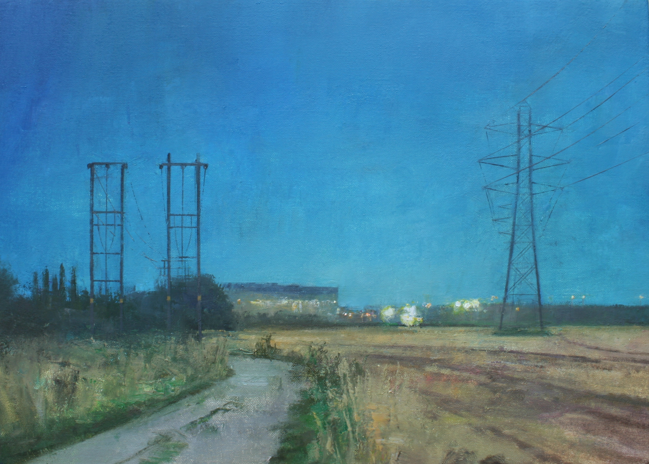"Edgelands - near Rylands, Nottingham Oil on Canvas, 14 x 10"", £950 - Sold"