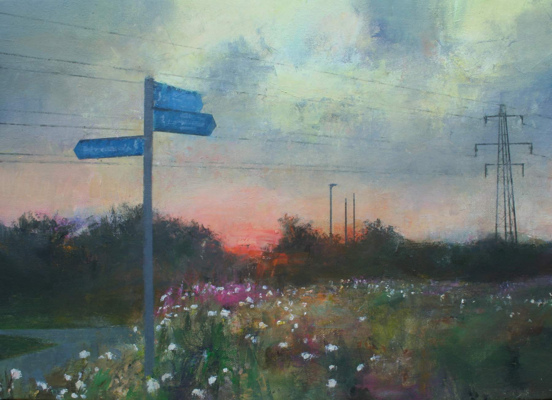 "Edgelands - cycle path, Nottingham, Oil on Canvas, 14 x 10"", £950 - Sold"