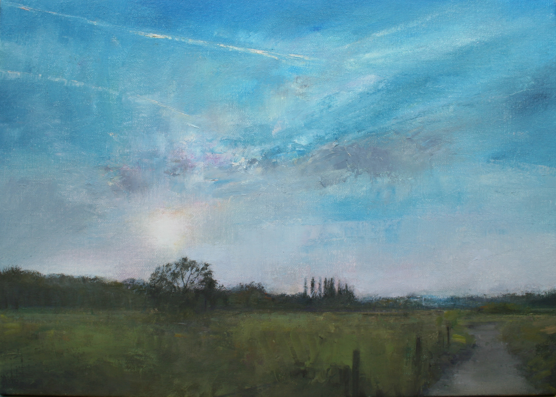 "Edgelands - Cotmanhay, Nottinghamshire Derbyshire border Oil on Canvas, 14 x 10"", £950 - Sold"