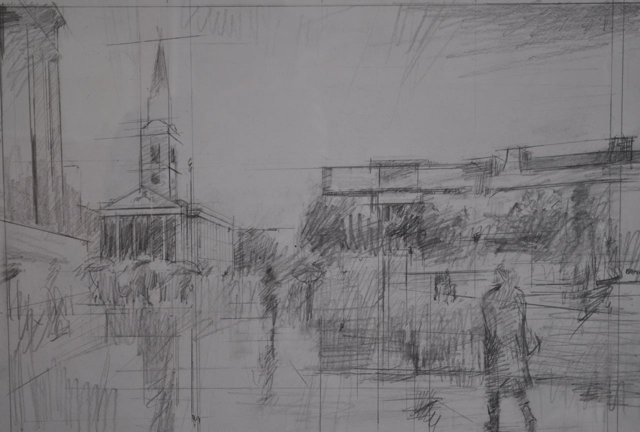 St Martins in the Fields and Trafalger Square, London - Working Drawing