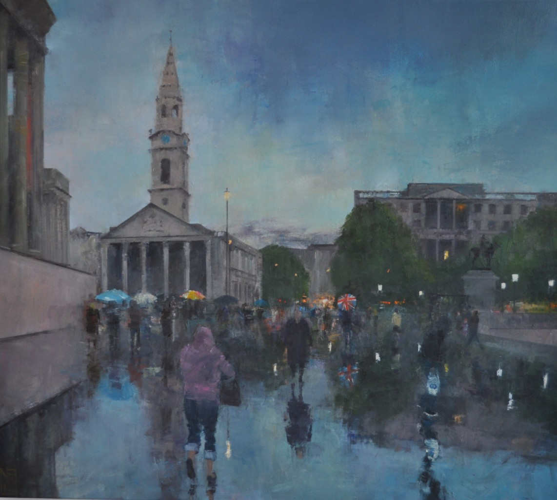 St Martins in the Fields and Trafalger Square, London