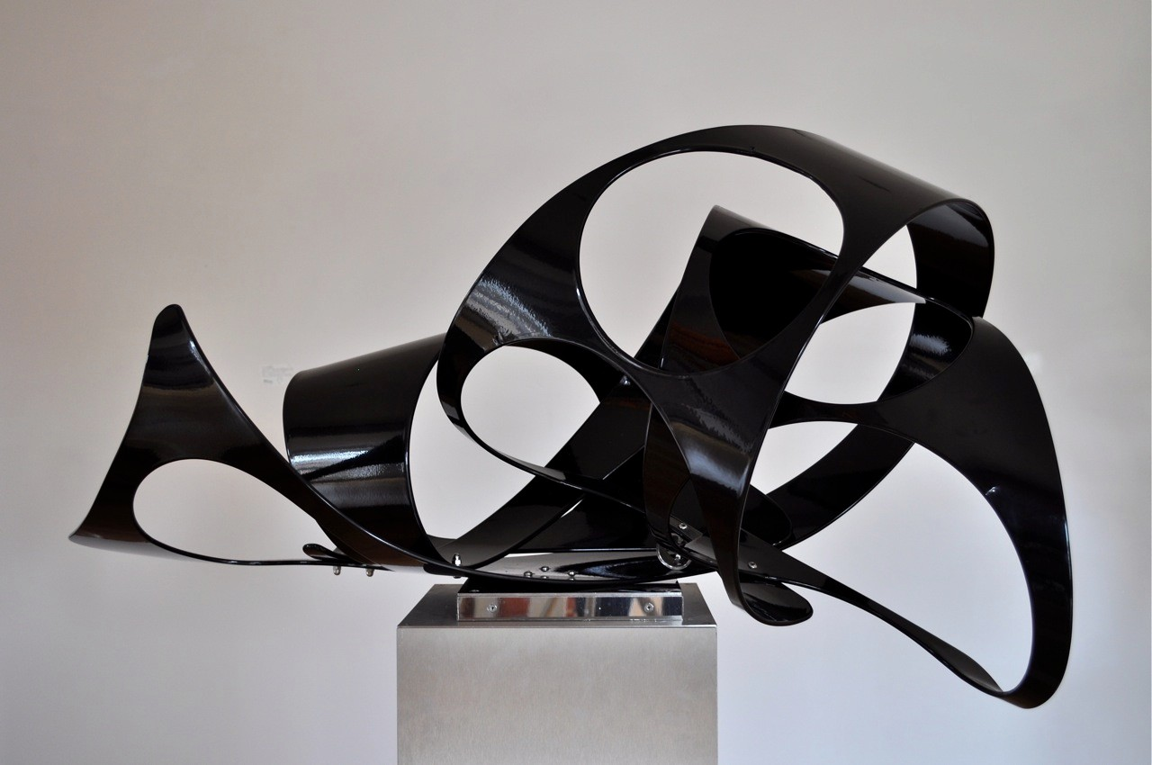 Black Piece Two - Curvilinear Series, Aluminium and stainless steel, H 52 cm W 110 cm and D 51 cm, £1,800