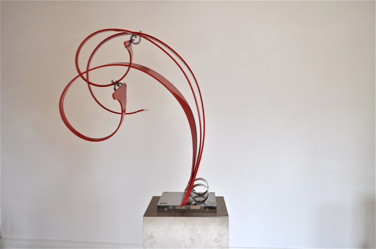 Red Piece One - Curvilinear Series, Aluminium and stainless steel, H 74 cm W 60 cm and D 38 cm, £1,200