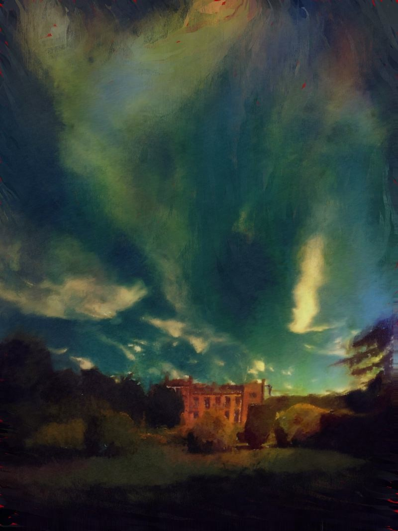Elvaston Castle - Summer Storm, Pigment Ink, Casein, Pastel Pigment, Acrylic and Resin on Aluminium, £850