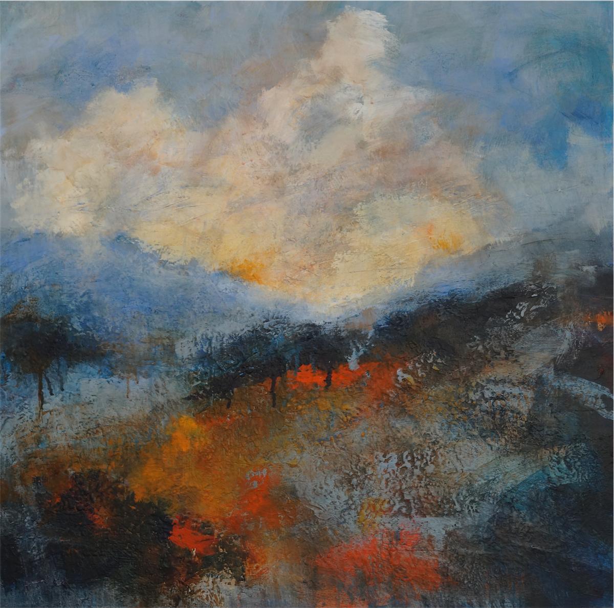 7 Russet  Flows through Blue Hills 76 x76cm deep   canvas