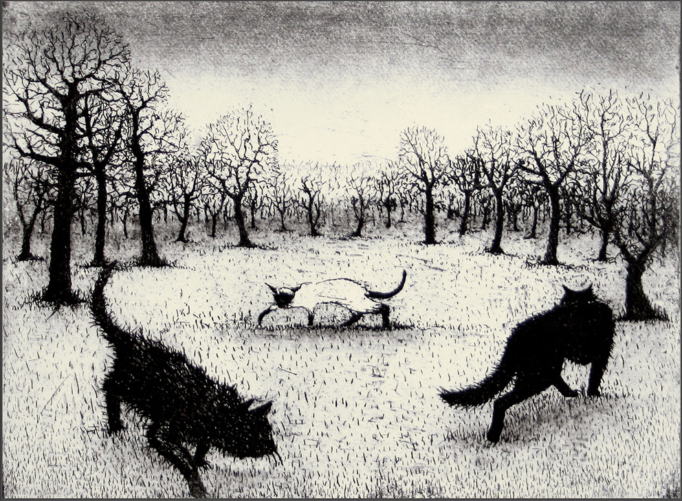 Prowling Cats, etching and aquatint, 15 x 20 cm, £160 unframed, £200 framed