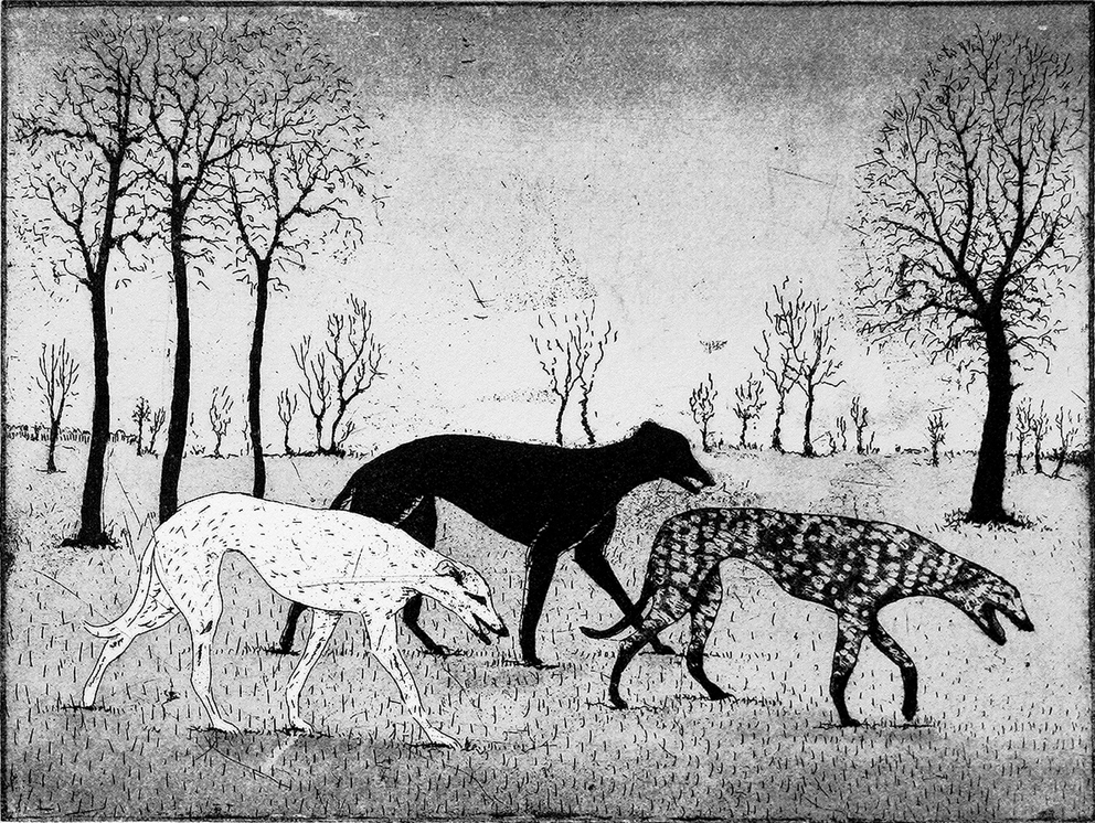 Strolling Hounds, etching and aquatint, 15 x 20 cm, £160 unframed, £200 framed