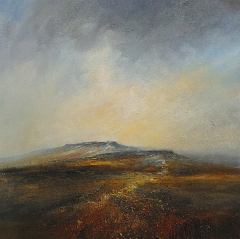 After Sundown Higgar Tor and Carl Wark, 100 x 100cm, Mixed media on canvas, £1960