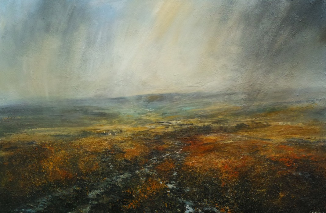 Clearing Shower Over Kinder Scout, 150cm x 100cm, Mixed Media on Canvas, £2750