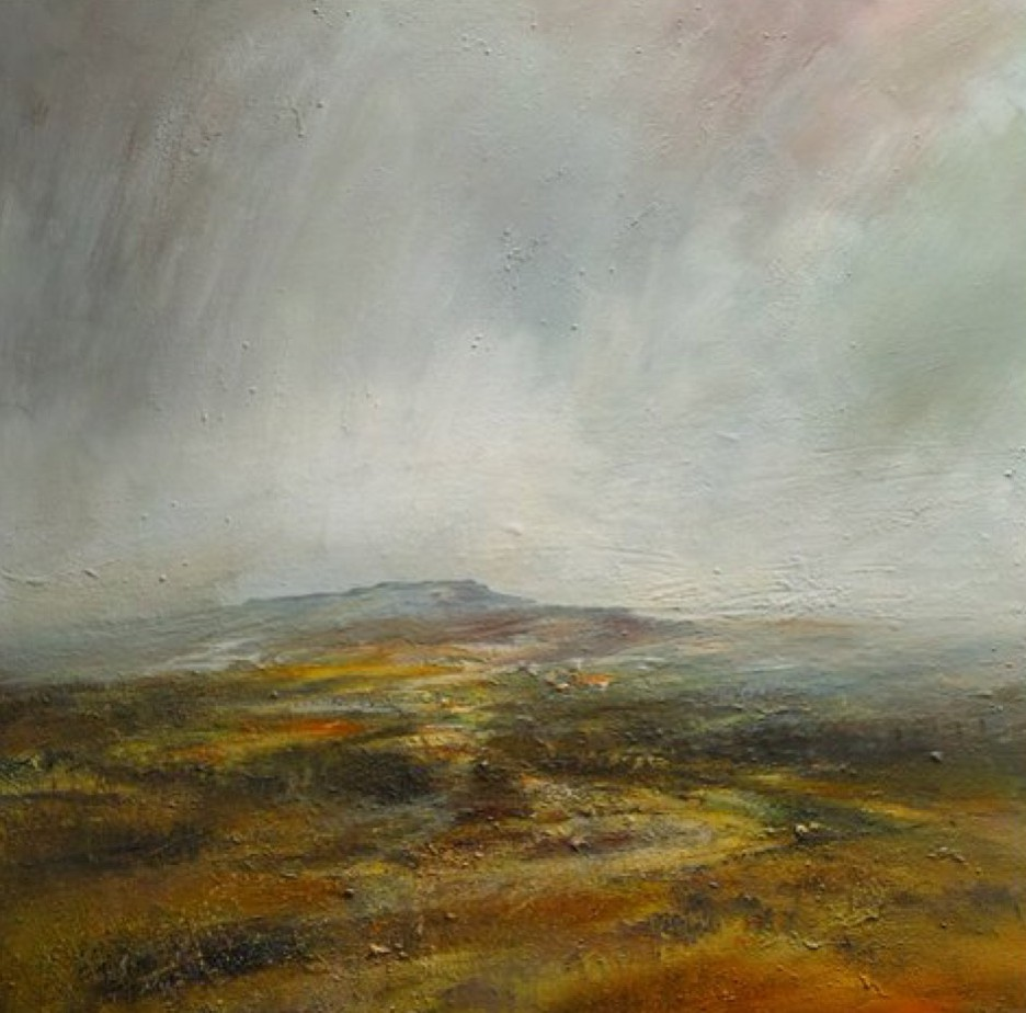 Evening Shower Across the Longshaw Estate, 100cm x 100cm, Mixed Media on Canvas, £1960