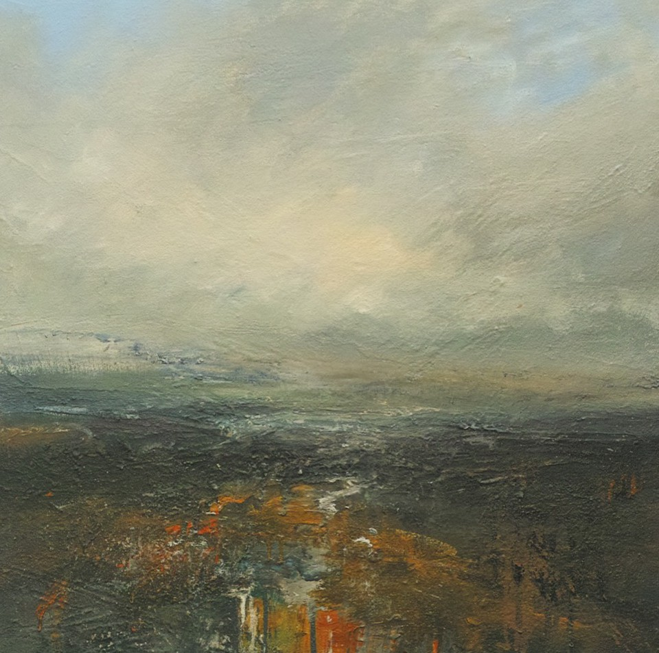 Fading Light Burbage Moor, 60 x 60cm, Mixed Media on Canvas, £975