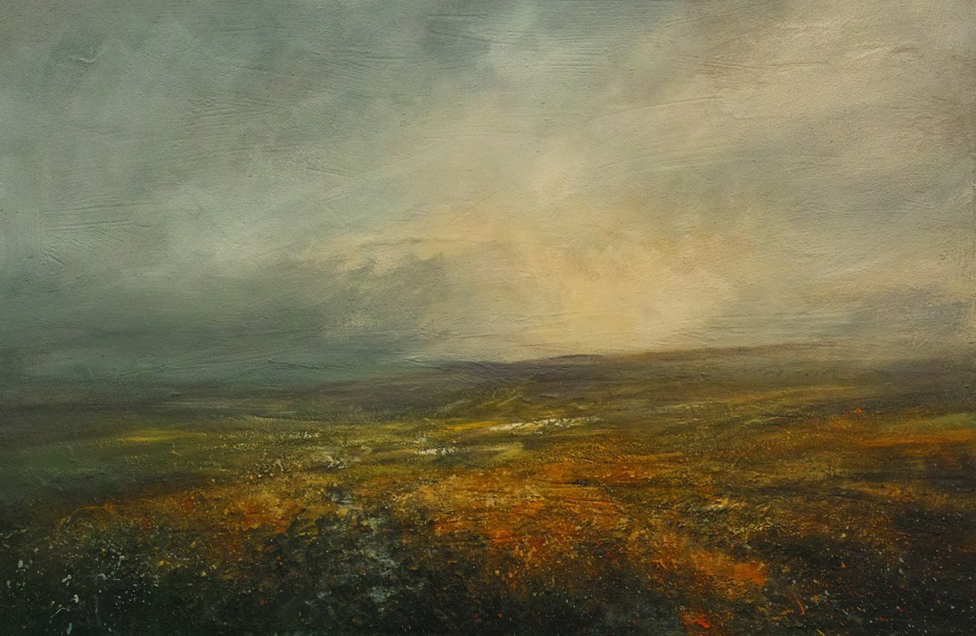 Setting Sun Over Kinder Scout, 120 x 80cm, Mixed Media on Canvas, £1960