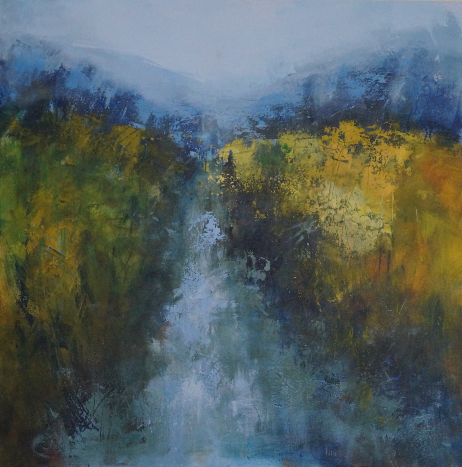1 Brook and Blue Hills 79 x 79cm deep canvas