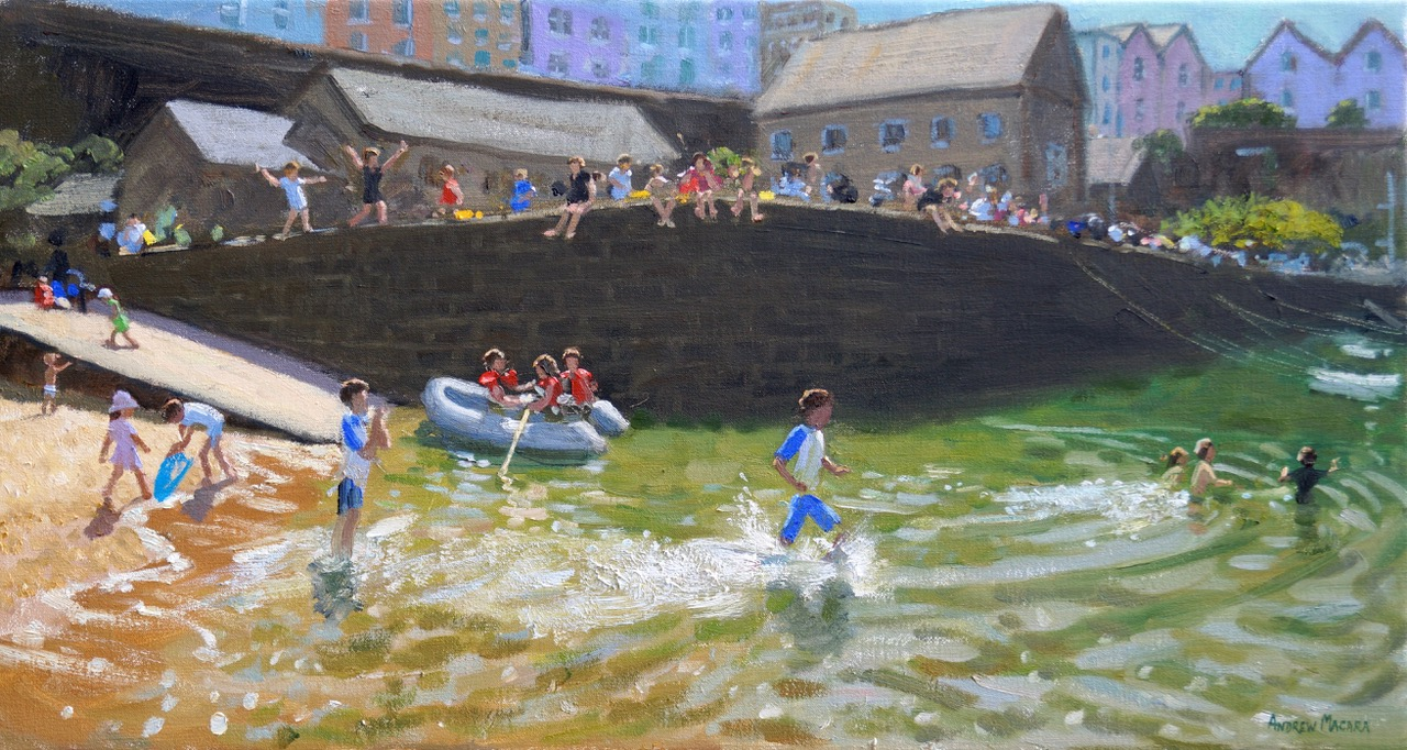 The dinghy,Tenby 16x30""