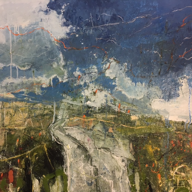 Footpath, Curbar Edge 87x87cm Oil & mixed media on canvas £4,200