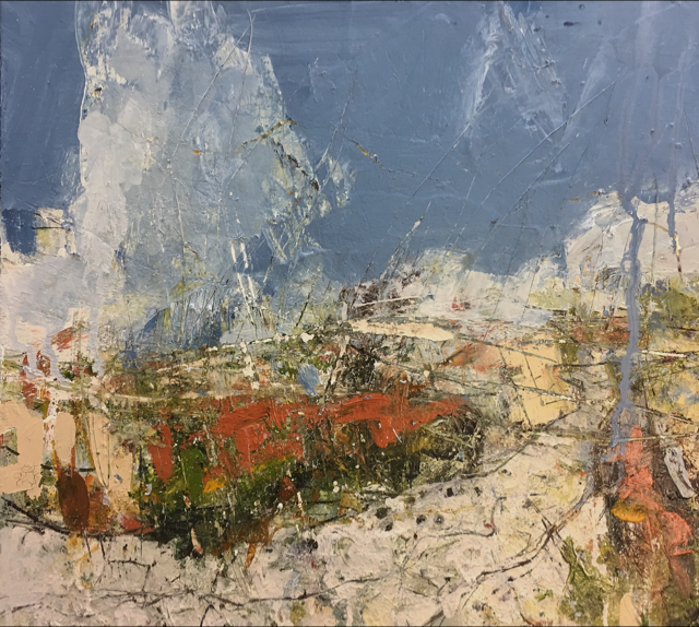 On Mam Tor, 51x56cm, Oil & mixed media on canvas, £2,350