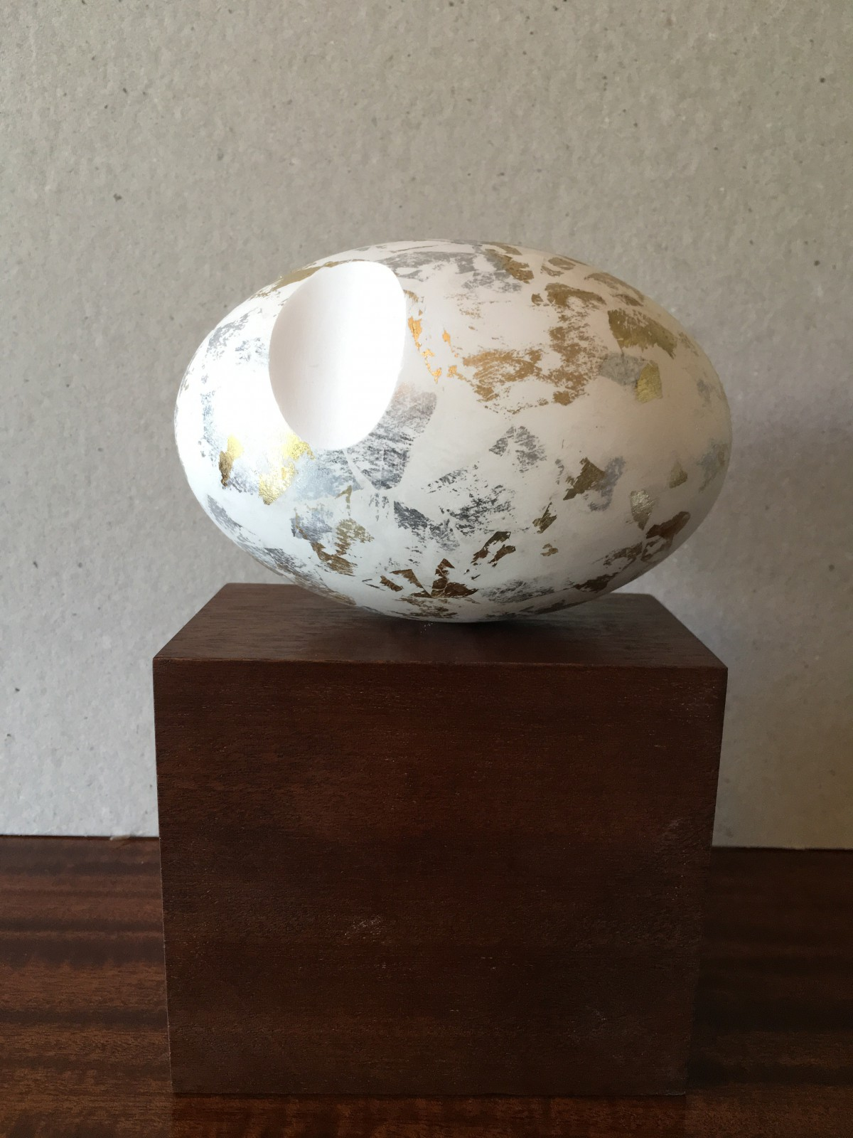 David Sprakes, Worn Ovoid, Herculite plaster maquette with gold and silver leaf, 12 x 8cm, £100