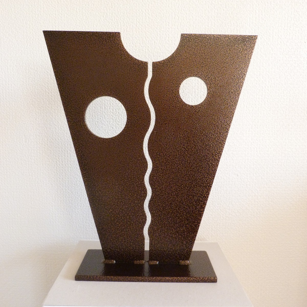 David Sprakes, River and Moons, Standing Relief. Bronze coated steel, 44 x 38cm, £650