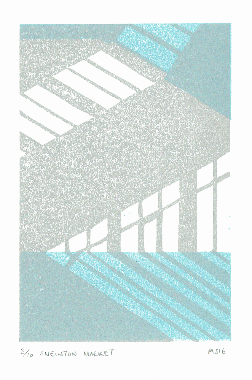 Matthew Strong, Sneinton Market , Reduction Linocut, 35 x 29cm, Edition of 10, £100