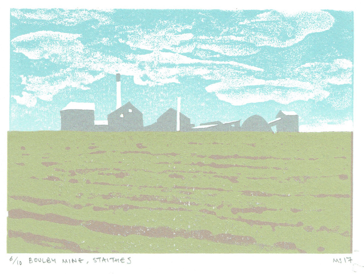 Matthew Strong, Boulby Mine, Reduction Linocut, 34 x 30cm, Edition of 10, £120