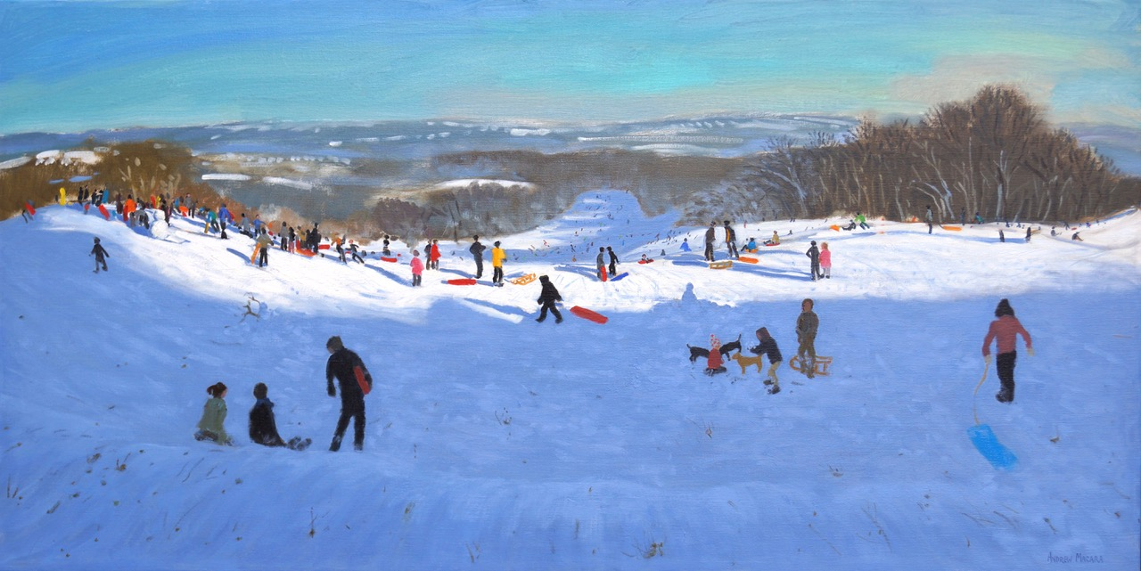 "Andrew Macara, Sledging from the 3rd green, Allestree Park, Oil on canvas, 30x60"", £7,000"