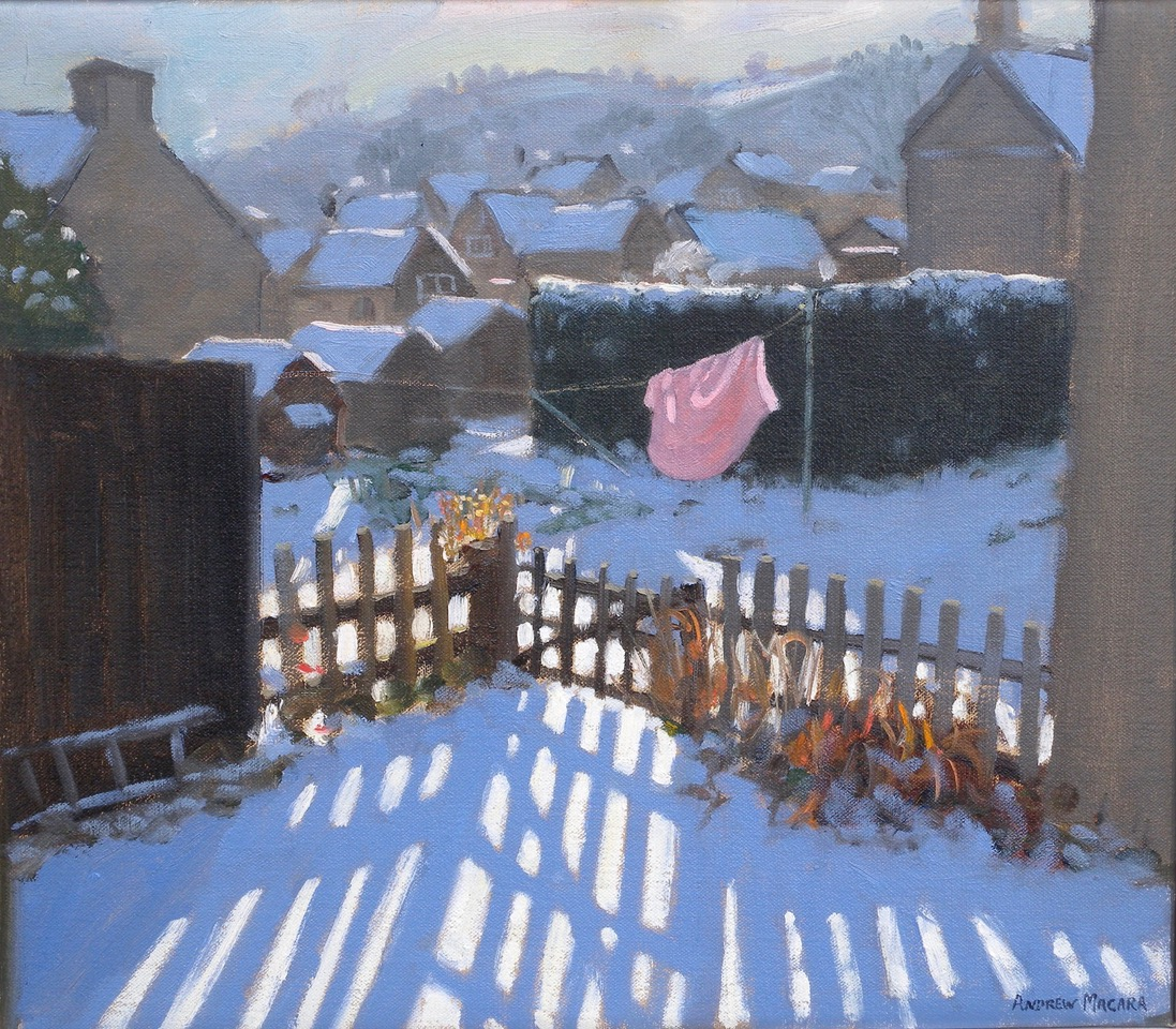 "Andrew Macara, Washing line, Bole Hill, Oil on canvas 14x16"", £1750"