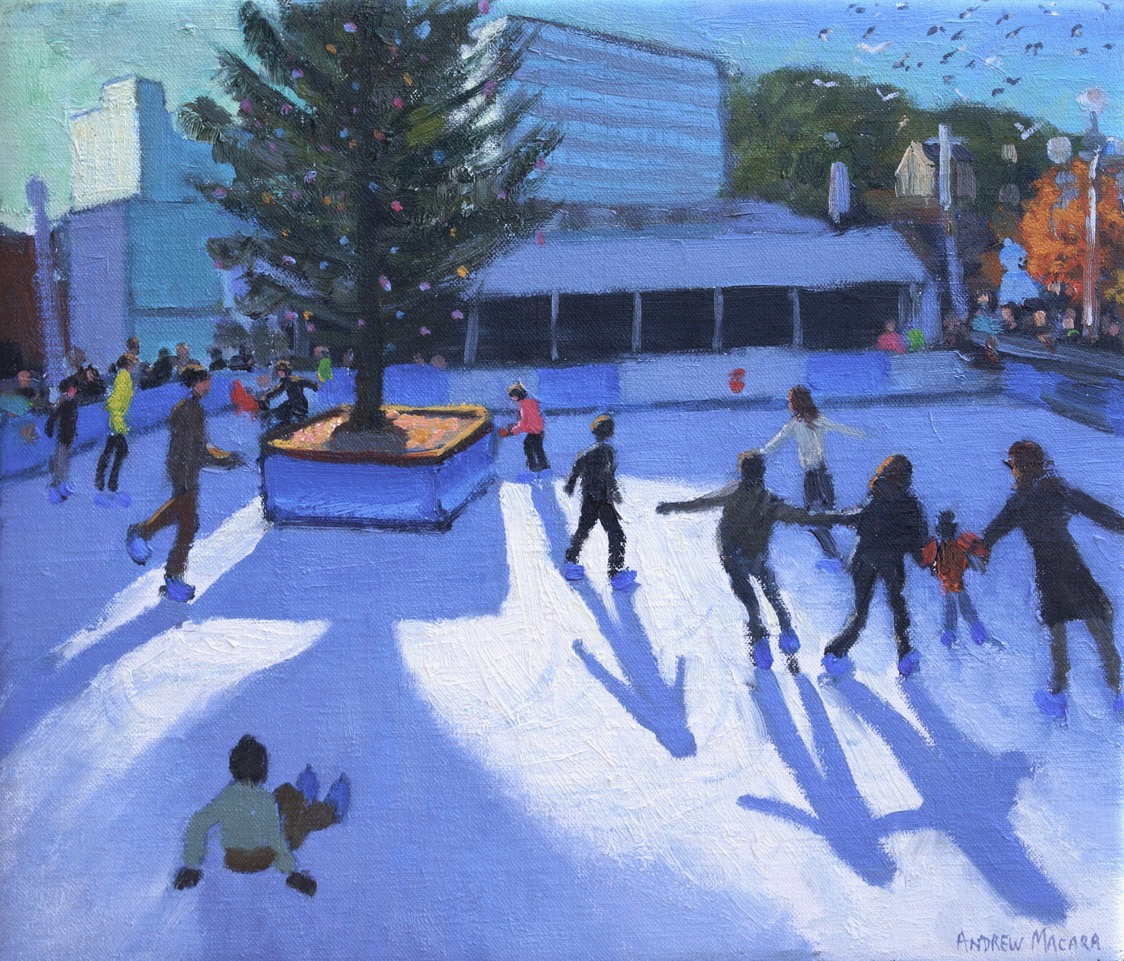 "Andrew Macara, Christmas skating, Nottingham, Oil on canvas, 12x14"", £1,500"