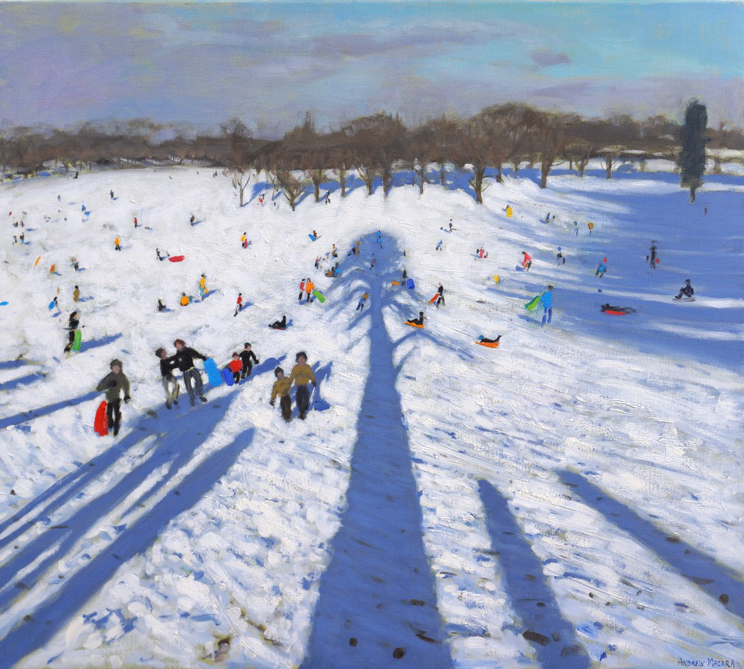 "Andrew Macara, Sledging, Wollaton Hall, Oil on canvas, 32x36"", £6,500"