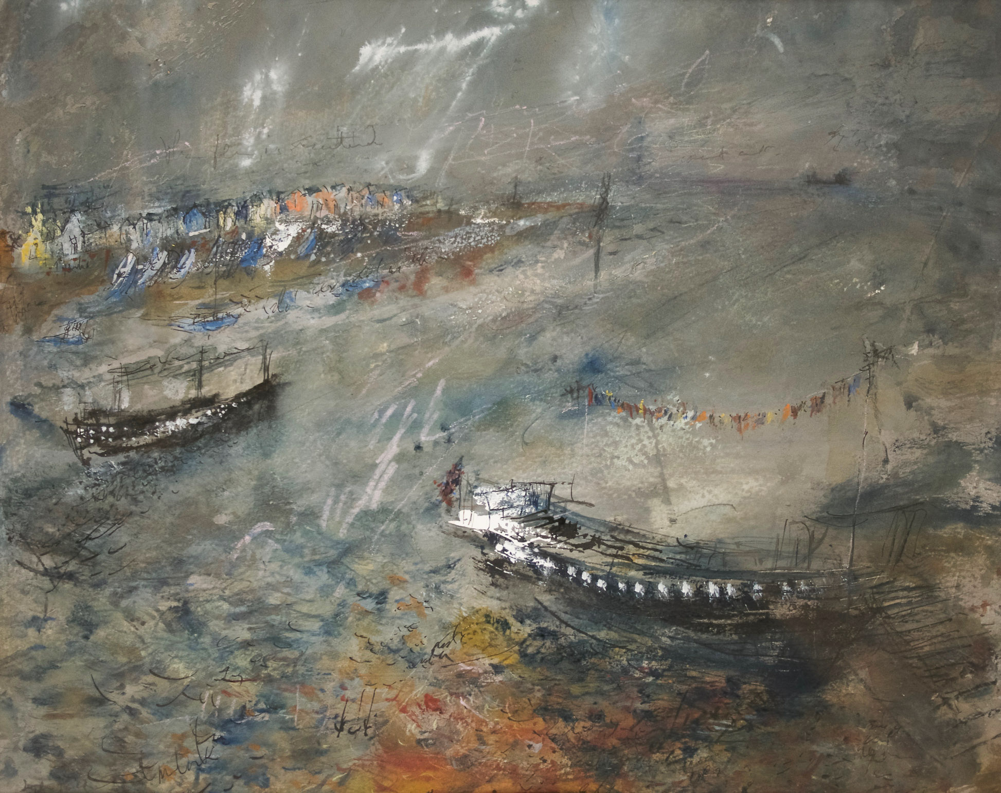 License your Departure  (River Teign – South Devon), Gouache, Pastel, Indian Ink, Graphite, 52cm x 45cm, £420