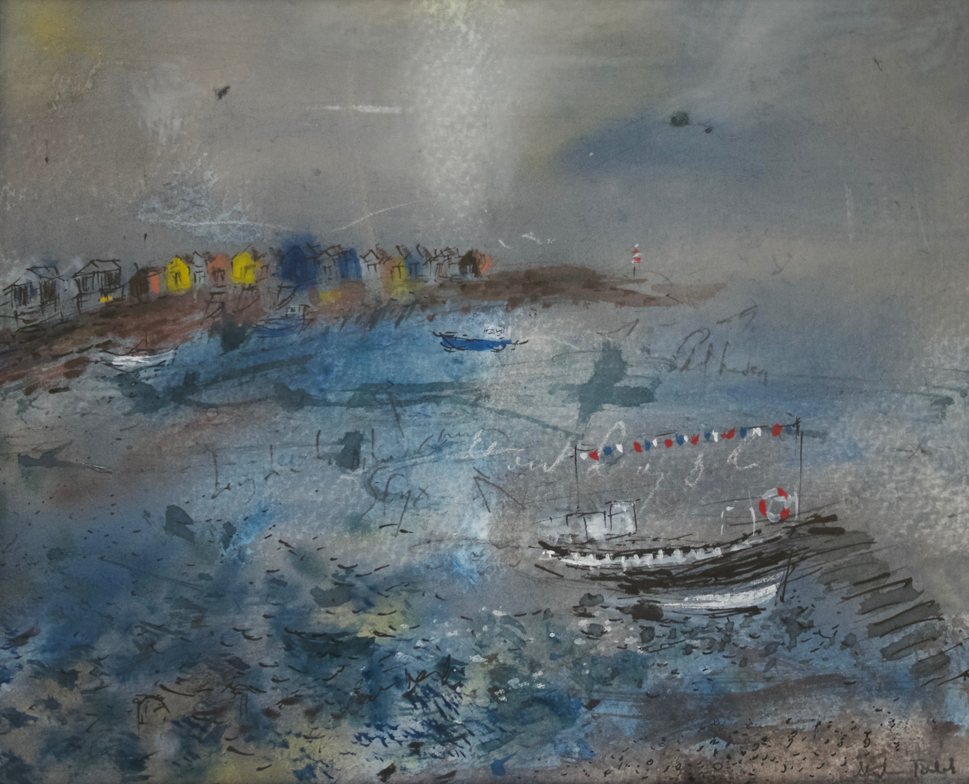 Our Day is Done (Ferry: Shaldon to Teignmouth - South Devon), Gouache, Pastel, Indian Ink, Graphite, 30cm x 34cm, £200