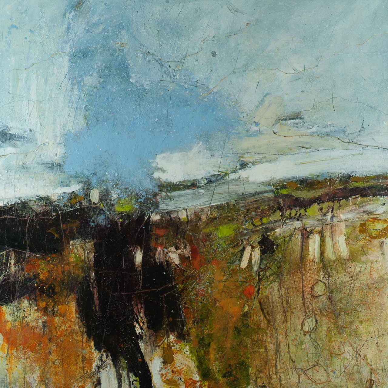 Hawthorns, Kinder Scout, Oil & mixed media on canvas,  87x87cm, £4200