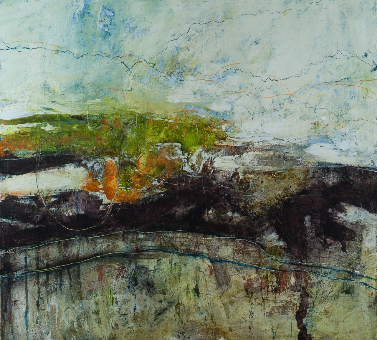 Kinder Scout from Mam Tor, Oil, mixed media & collage on board, 51x56cm, £2650
