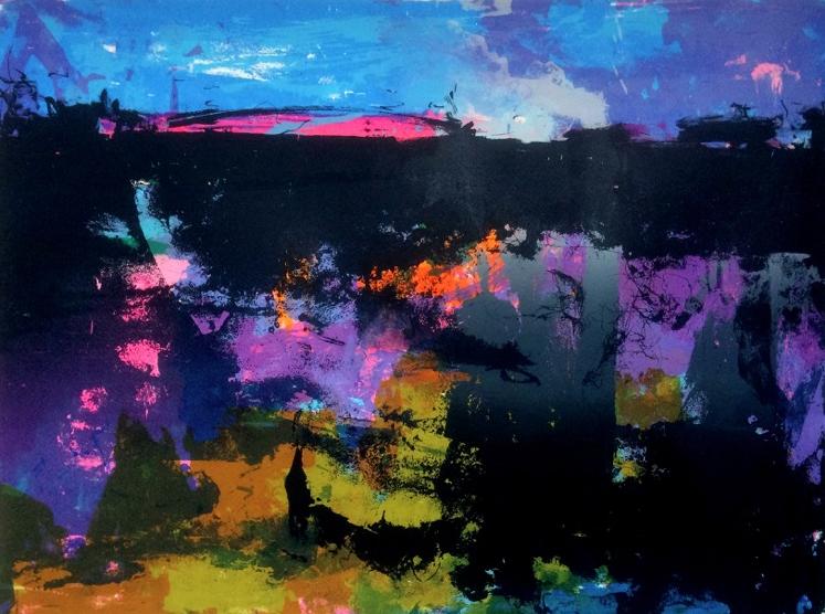 Tim Southall, Landscape in Fuchsia & Black