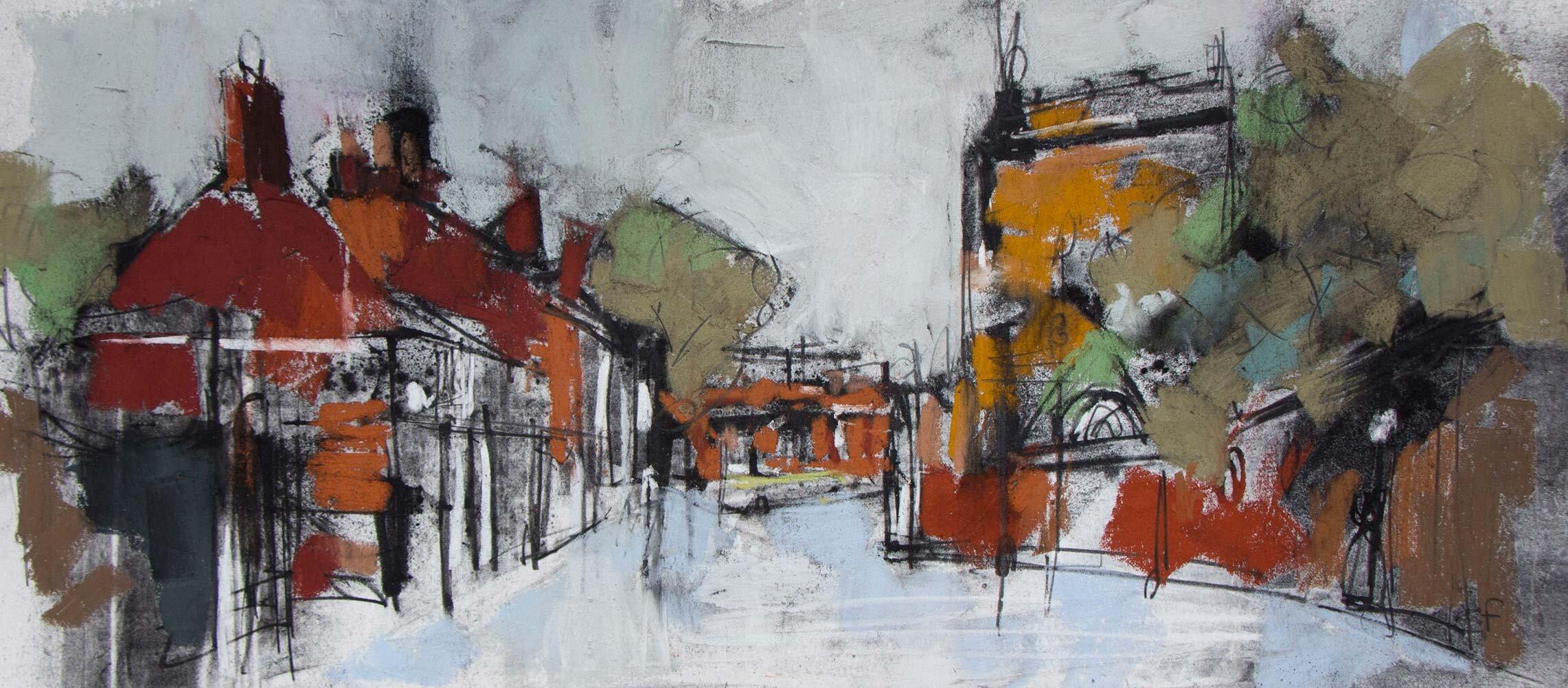 Emma Fitzpatrick, Castle View, Pastel & Charcoal