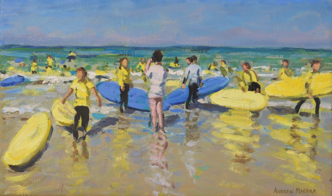 Andrew Macara, Blue and yellow surfboards,Surf School, St Ives