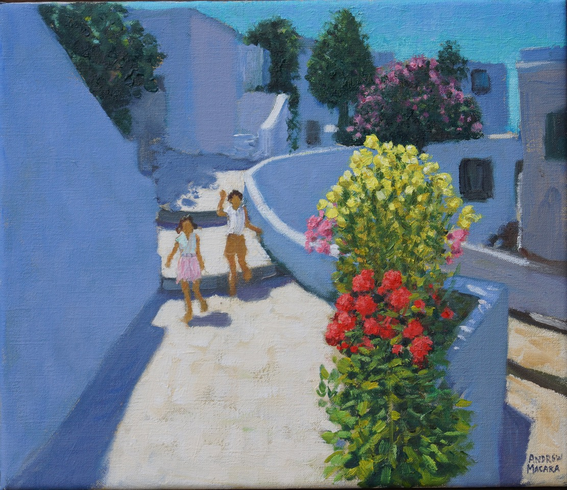 Andrew Macara, Children and flowers, Tinos, Greece